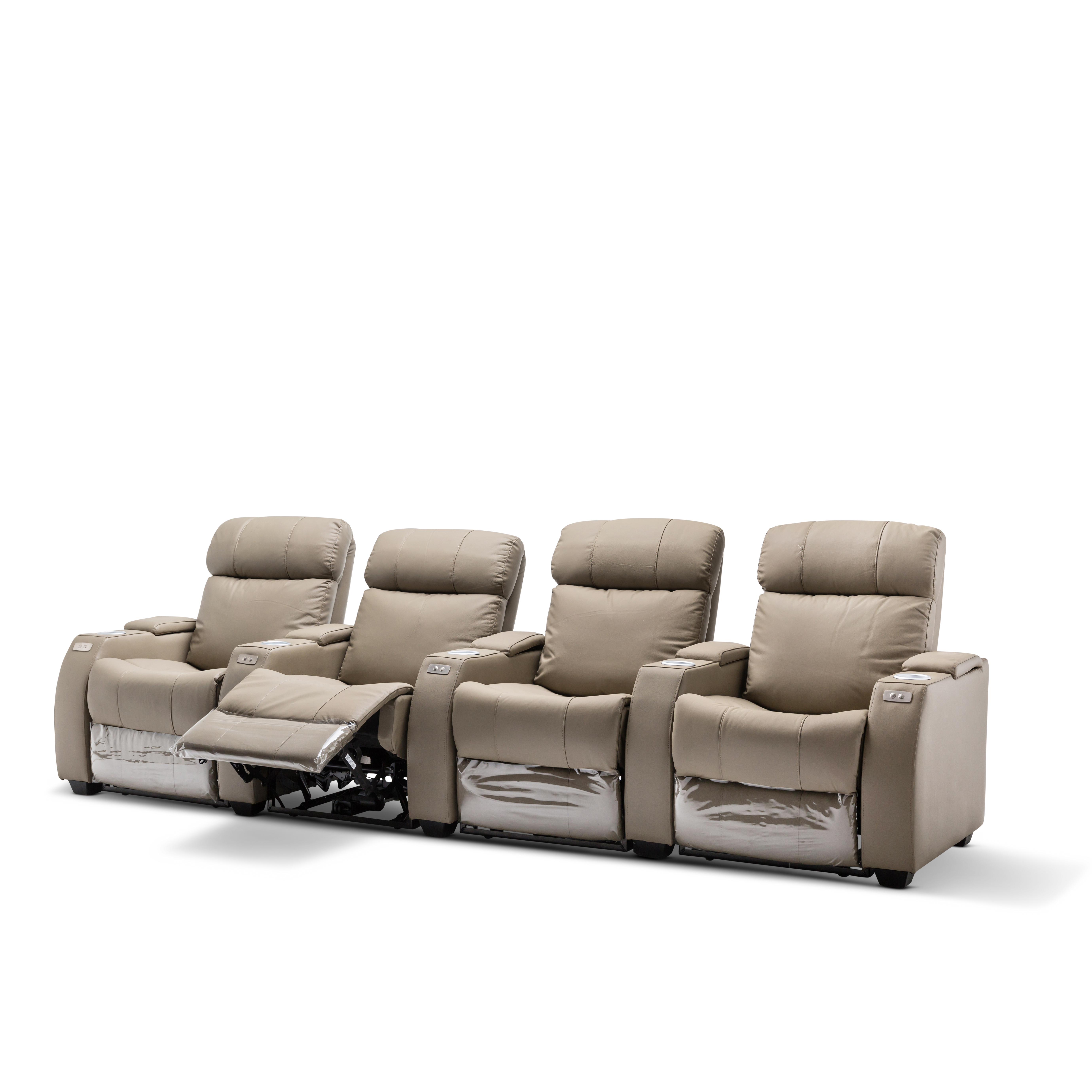 Grey Lounge Suite: Anna Brand New Grey/Black Leather Electric Home Threatre