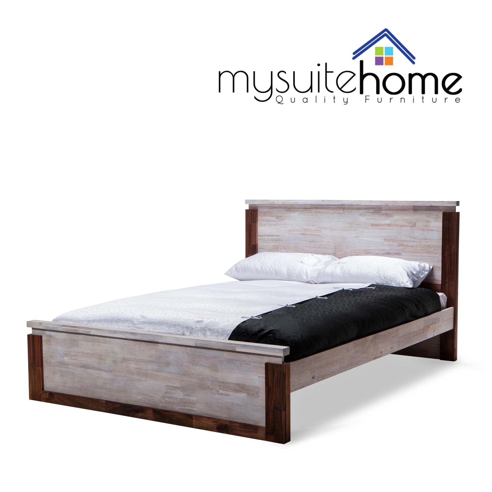 28 solid wood modern bed frame storage bed in solid walnut
