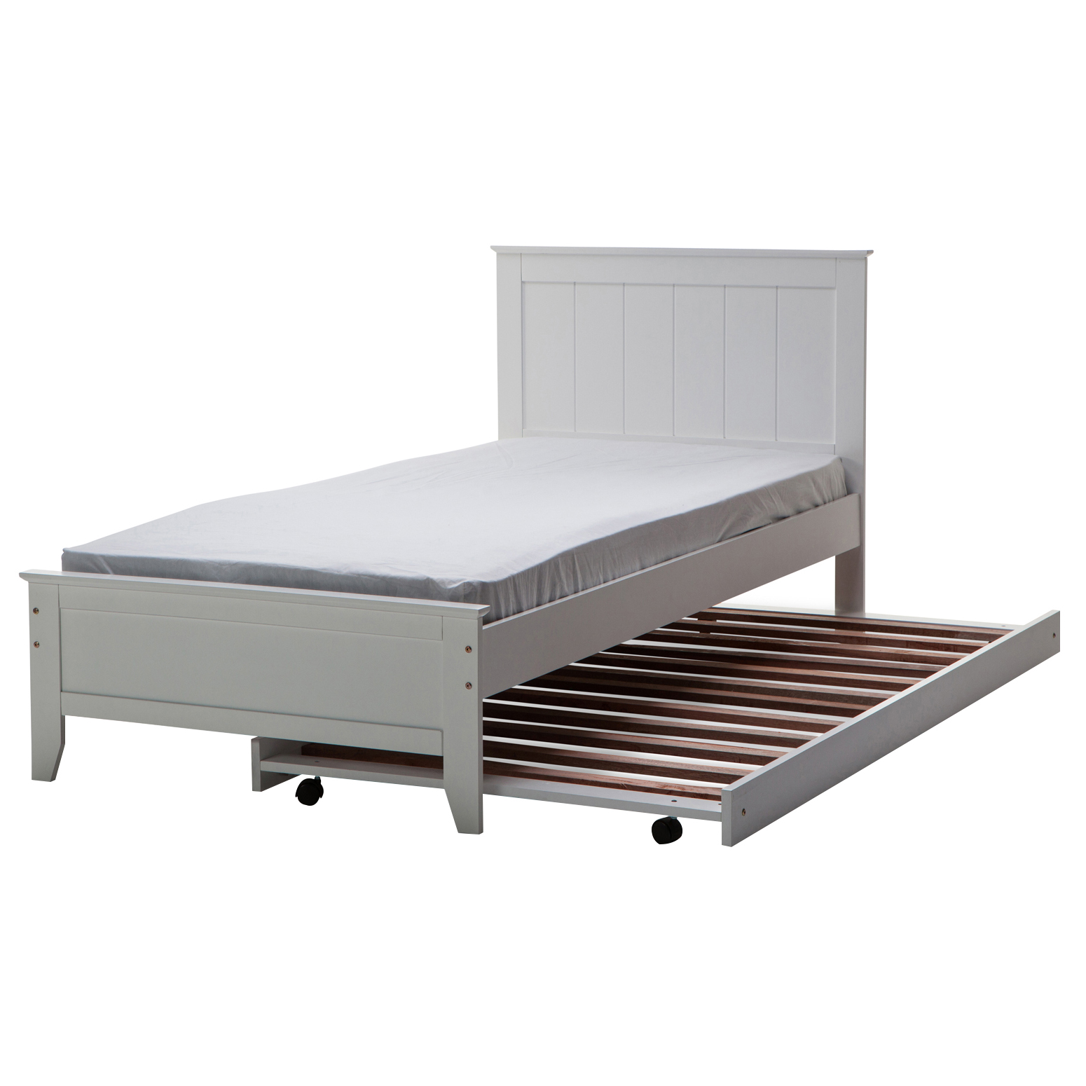 King single beds with trundle : Dallas solid rubber wood mdf white single king bed