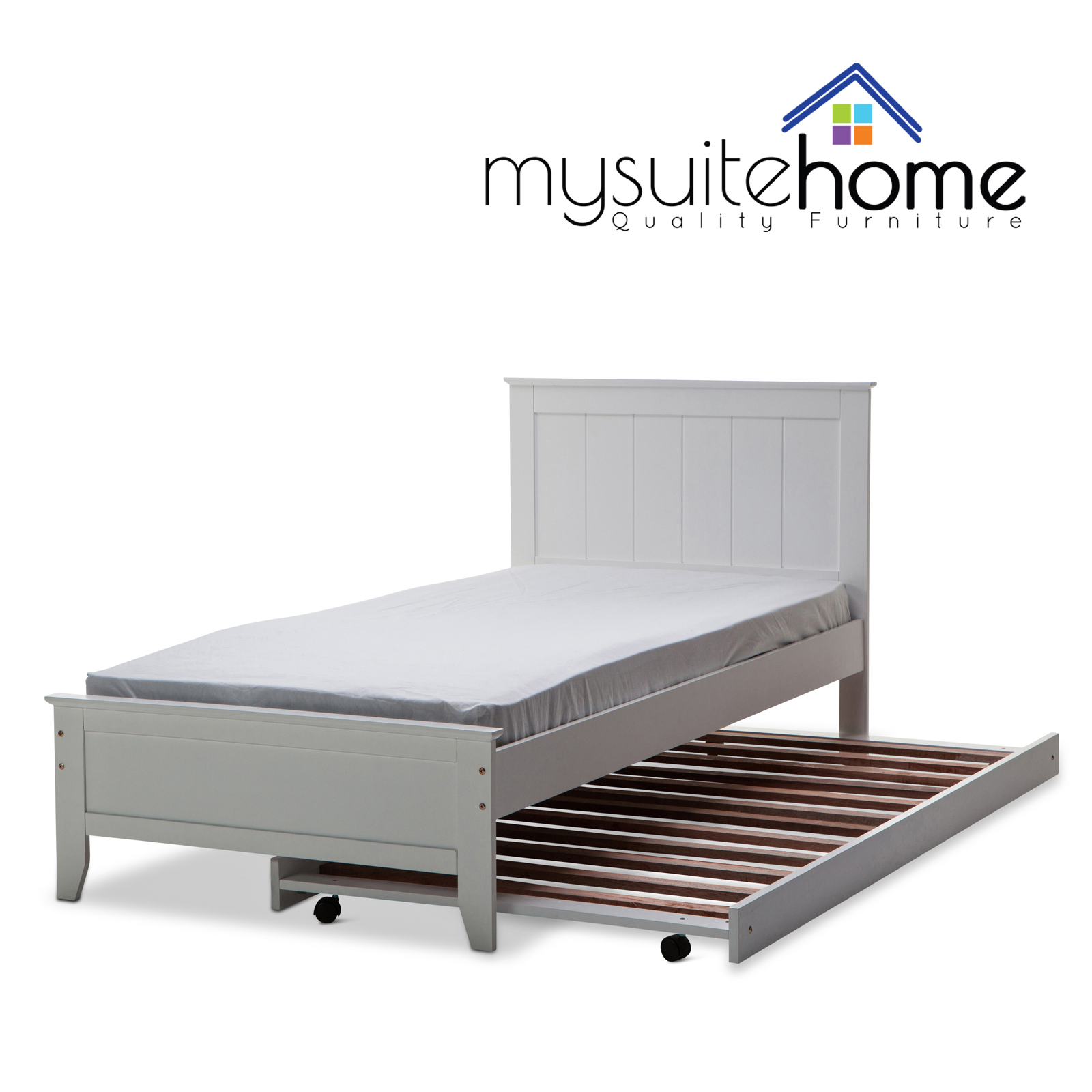 Dallas Solid Rubber Wood MDF White Single King Single Bed