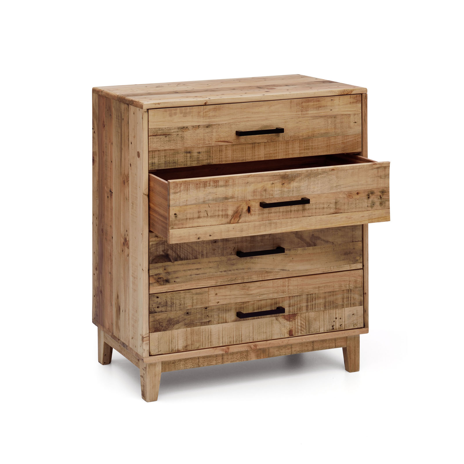 Portland solid recycled pine timber chest of 4 drawers for Portland reclaimed wood furniture