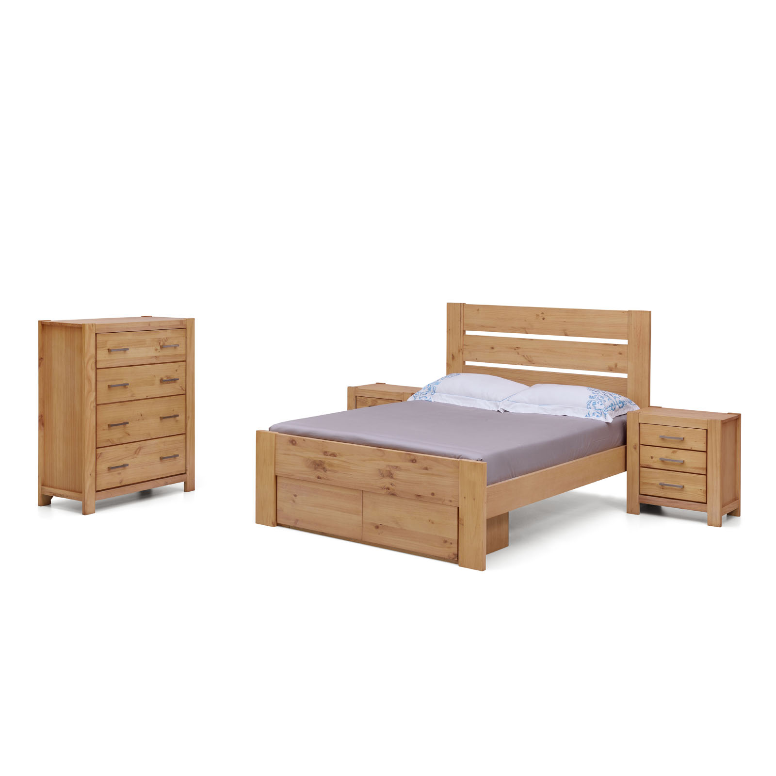 Houston Natural Solid Pine Timber Queen King Size Bed