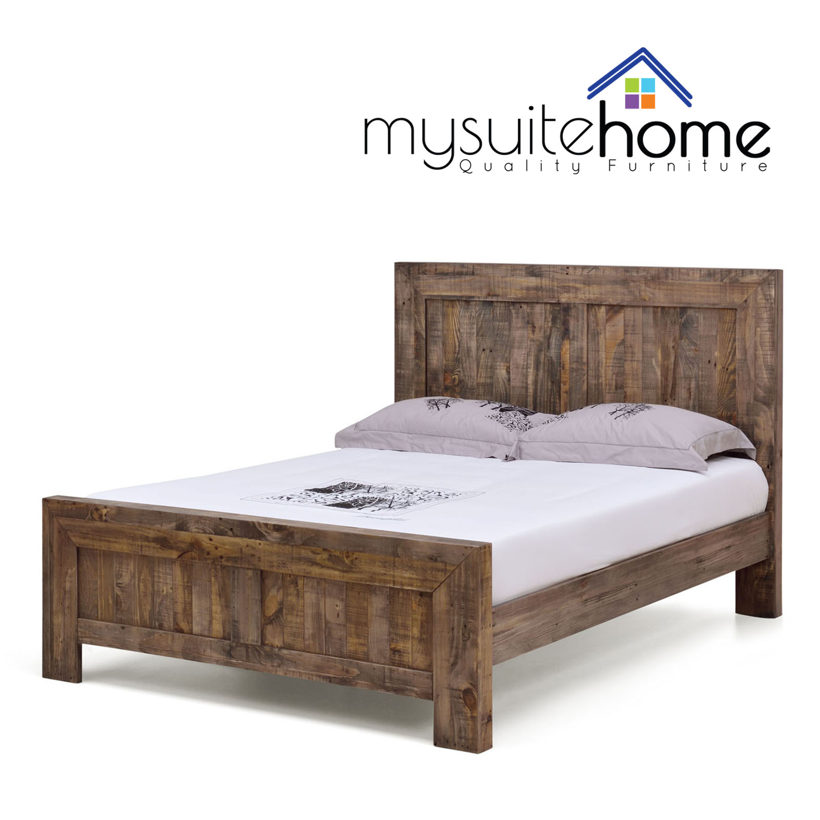Boston solid recycled pine timber double queen king size for Recycled timber beds
