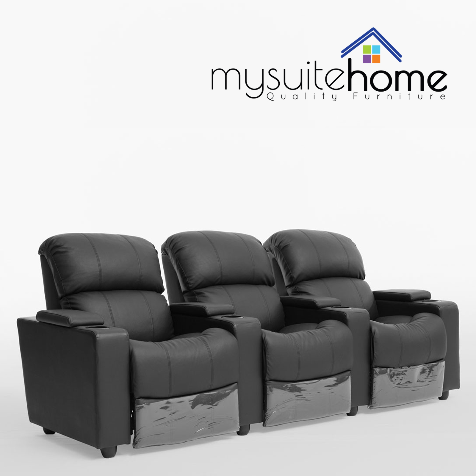 Sophie Leather 3 Seater Home Theatre Recliner Sofa Lounge With Cup  ~ Entertainment Sofa Furniture