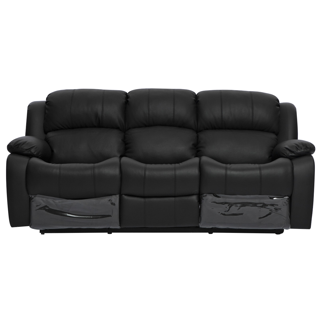Best Leather Reclining Sofa Brands: Kacey Brand New Black Leather 3 Seater Chair Recliner