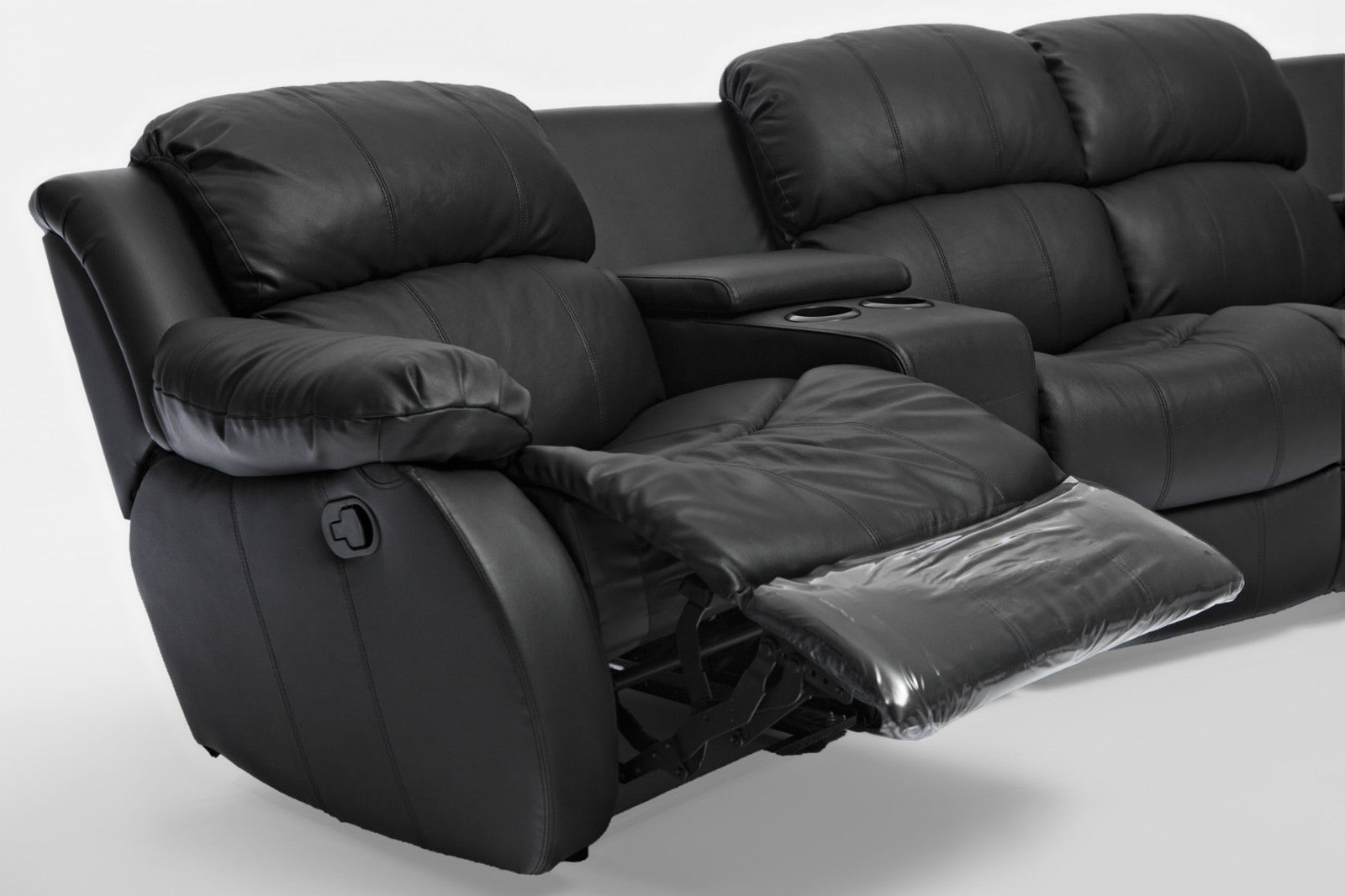 Nikki Brand New Black Leather 4 Seater Home Theatre Lounge