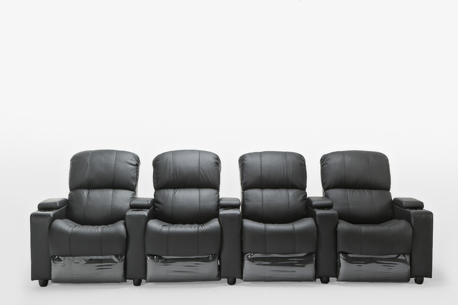 Details about Sophie Leather 4 Seater Home Theatre Recliner Sofa Lounge  with Cup Holders