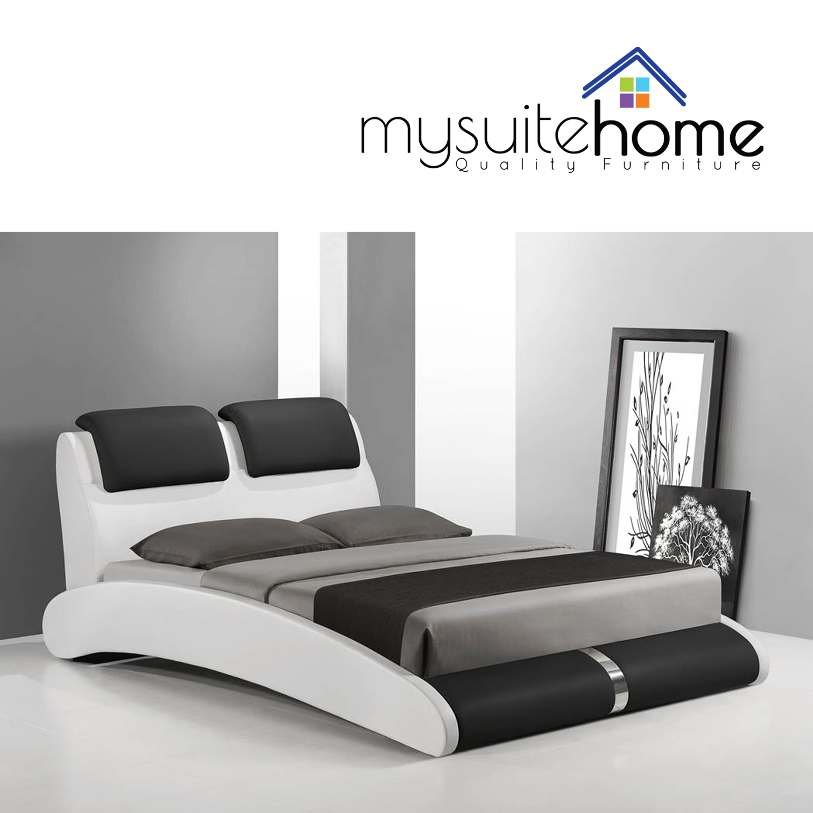 marco brand new modern matt white and black queen size pu leather bed frame ebay. Black Bedroom Furniture Sets. Home Design Ideas