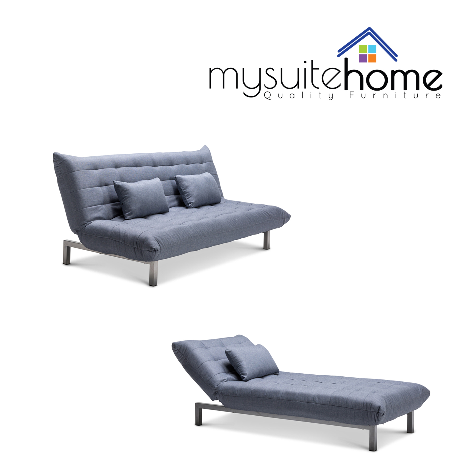 York Fabric Click Clack 3 Seater Modular Lounge Sofa Bed Futon Couch