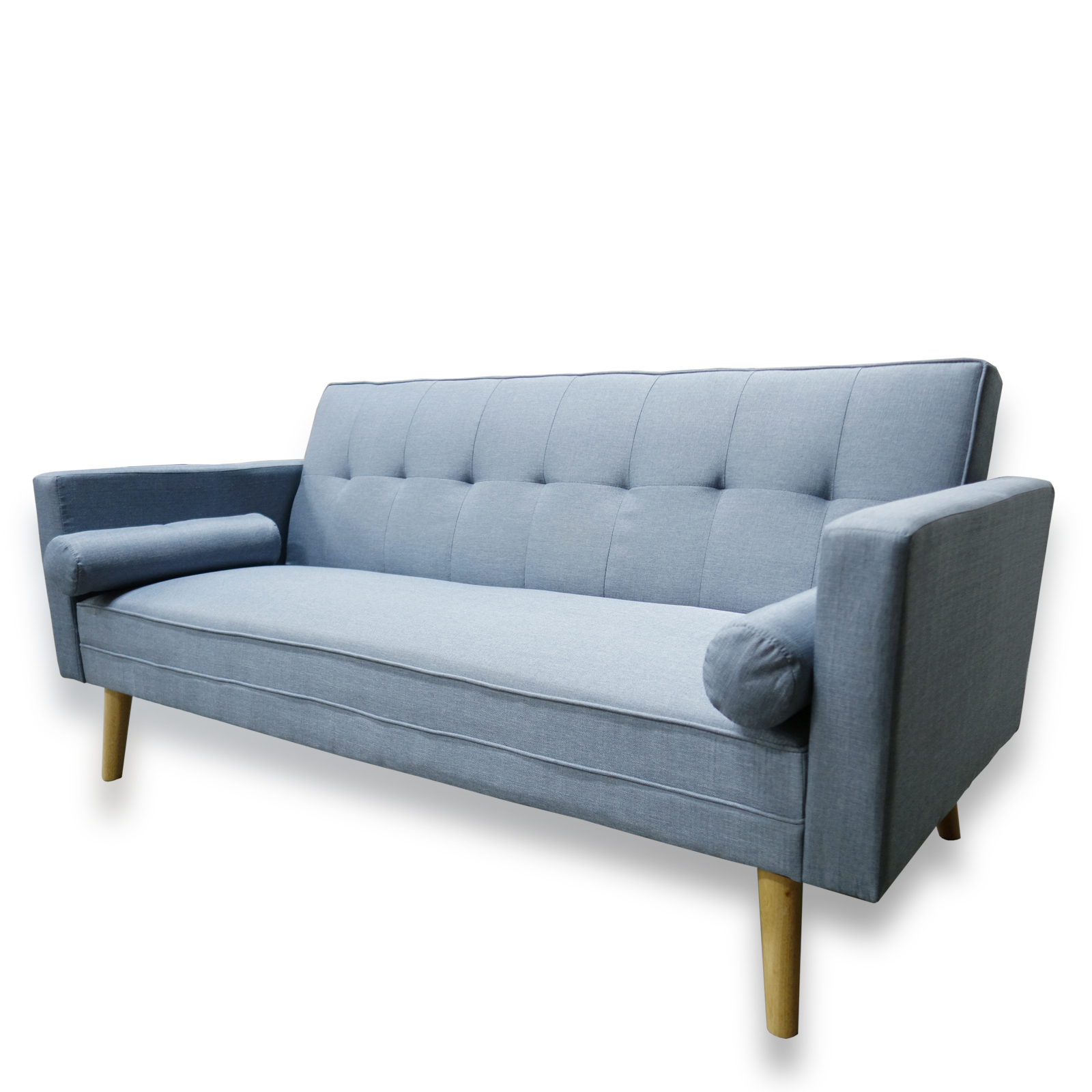 Amy brand new blue or grey fabric click clack sofa bed for Flip down sofa bed
