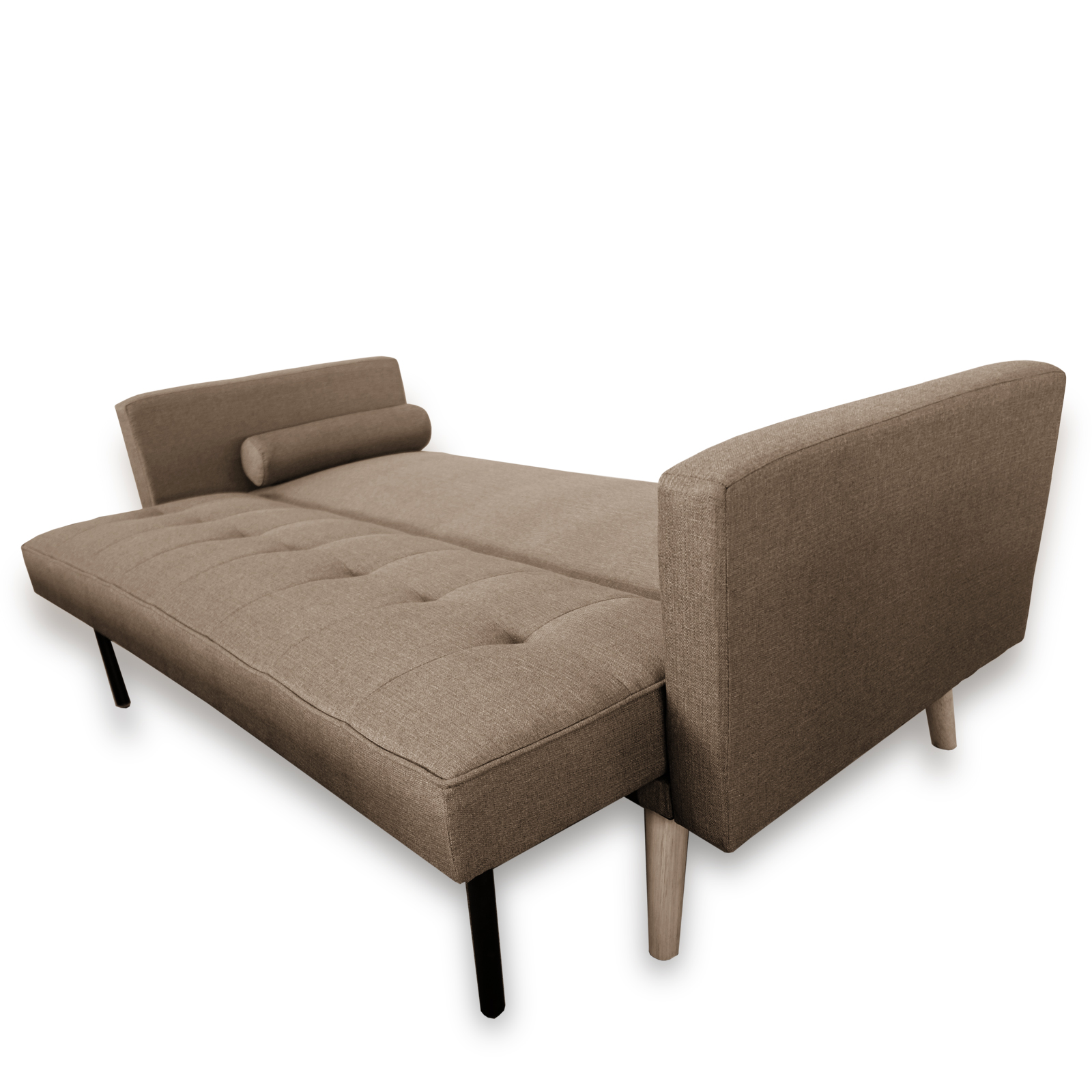 Amy contemporary scandinavian fabric click clack 3 seater for Click back sofa bed
