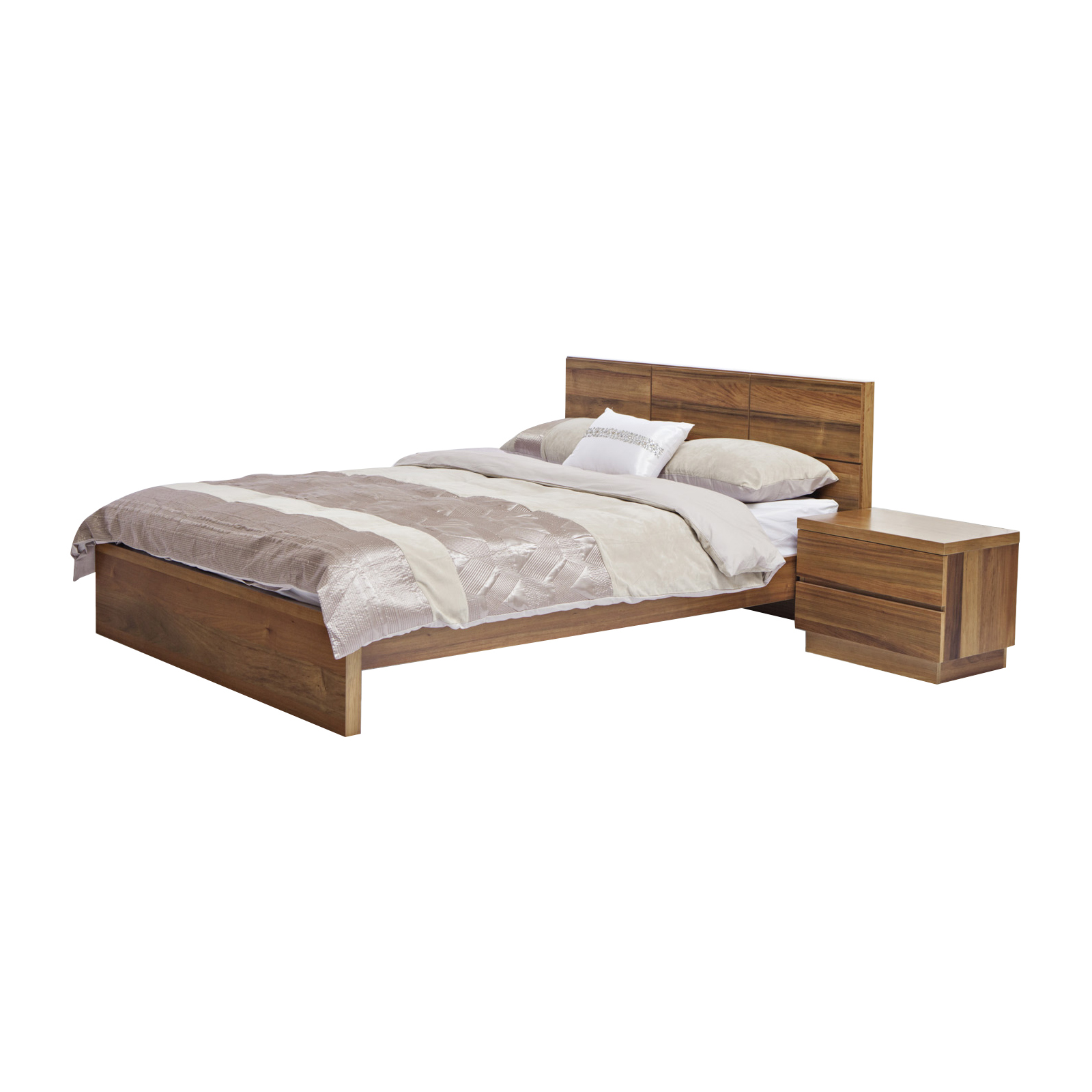 Florence Solid Timberblackwood Veneer Queenking Size Bed Frame