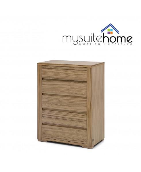 Jamel African Walnut Veneer 5 Storage Drawers Tallboy Chest Cabinet