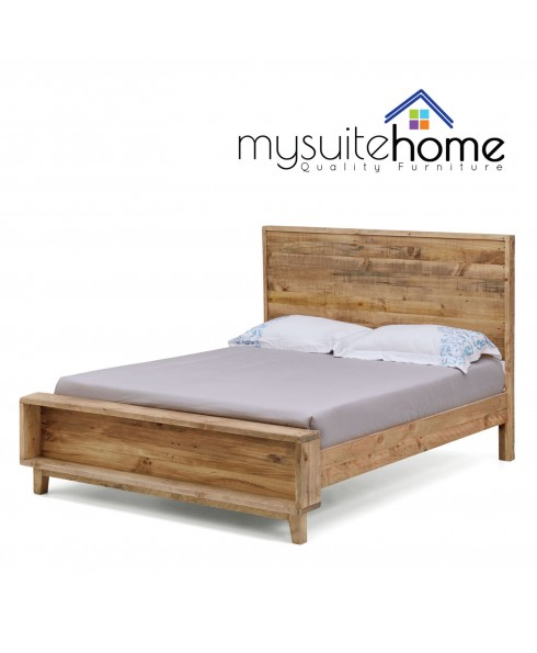 Portland Recycled Solid Pine Rustic Timber King Size Bed Frame