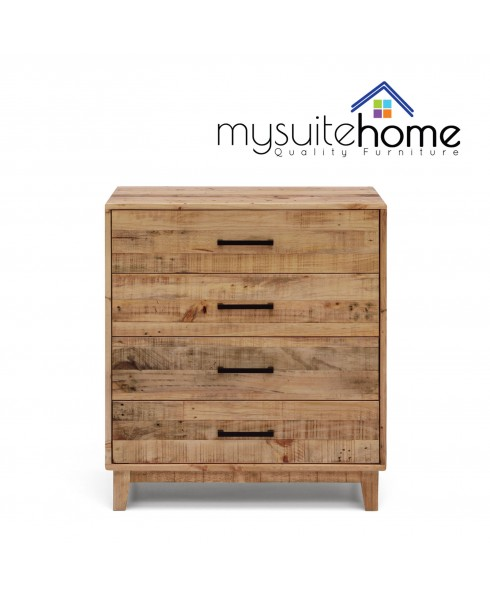 Portland Solid Recycled Pine Timber Tallboy Storage Drawers
