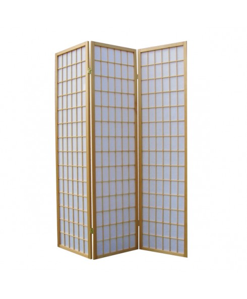 Solid Timber 3 Panel Wooden Clear Varnish Colour Screen Room Divider