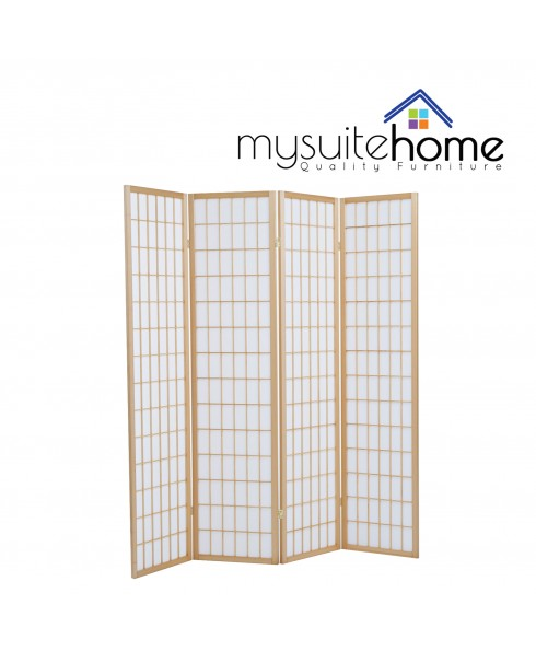 Solid Timber Wooden Natural 4 Panel Fold Screen Room Divider