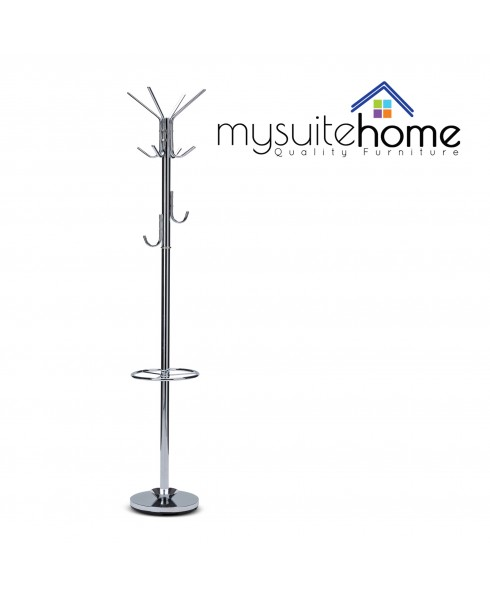 Bailey Brand New Chrome Heavy Weight Hat Coat Clothes Rack Stand Hanger
