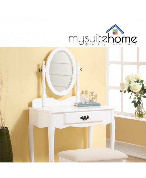 Miley White Dressing Table & Stool