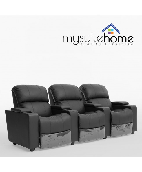 Sophie Black Leather 3 Seater Recliner Home Theater Lounge