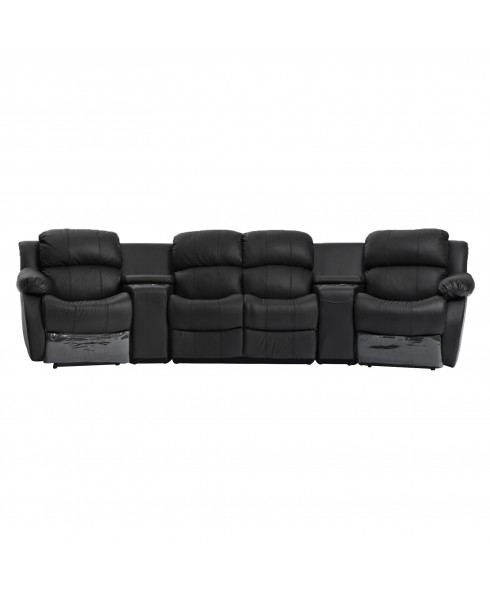 Nikki Black Leather 4 Seater Home Theatre Lounge - 4 Recliners