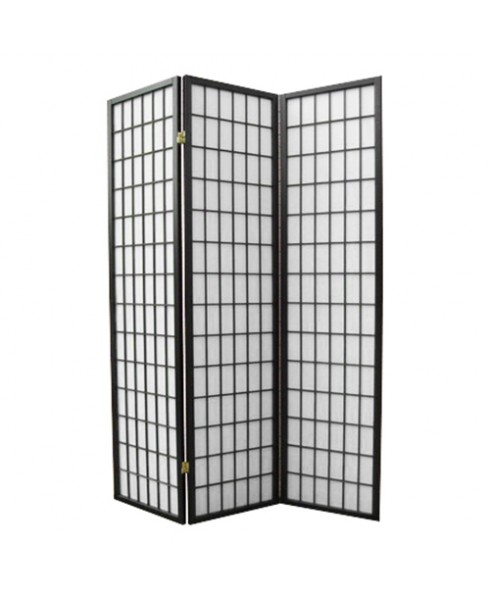Solid Timber Wooden Clear Varnish Black 3 Panel Fold Screen Room Divider