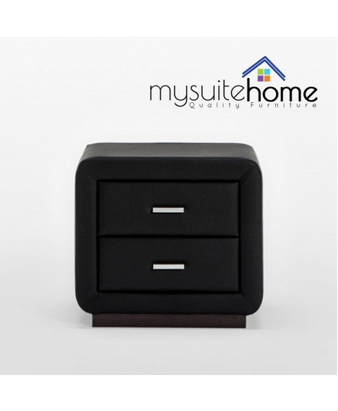 Emily Matte Black PU Leather Bedside Table