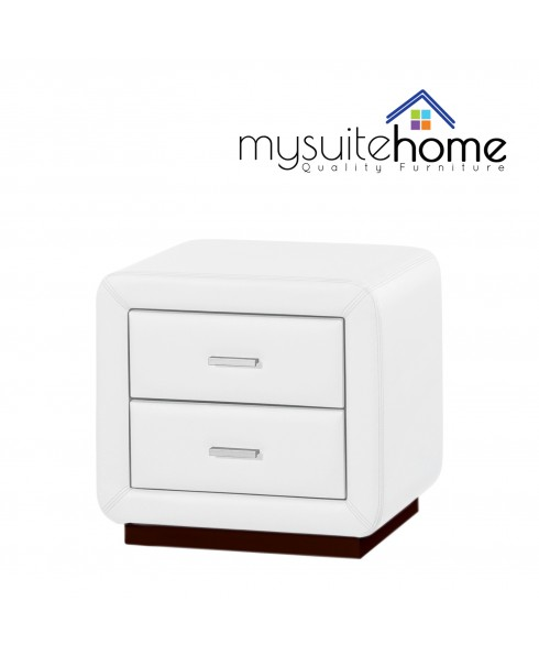 Emily Matte White PU Leather Bedside Table