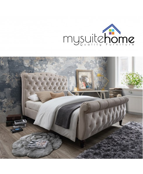 Jasmine Chesterfield - Sleigh Queen Size Fabric Bedframe