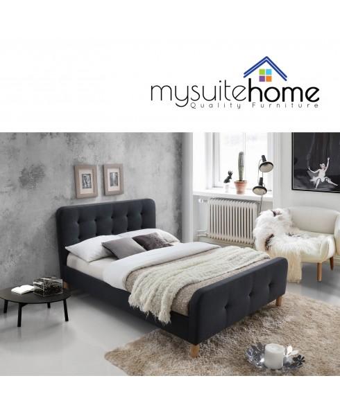 Brayden Dark Grey Fabric Queen Size Bed frame