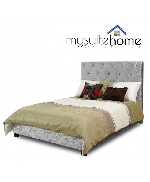 Rosie High Back Silver Grey Crushed Velvet Double Size Fabric Bed Frame