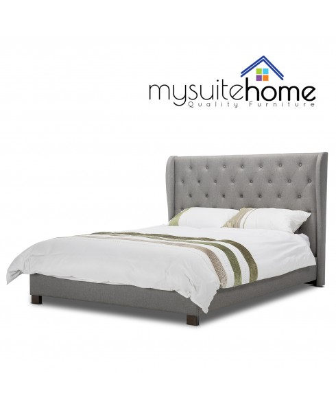 Rhea Wingback Grey Queen Fabric Bedframe