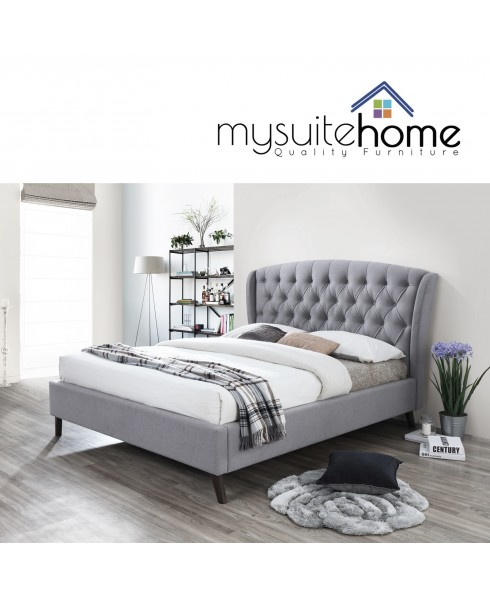 Oxford Wingback Grey Queen Bed