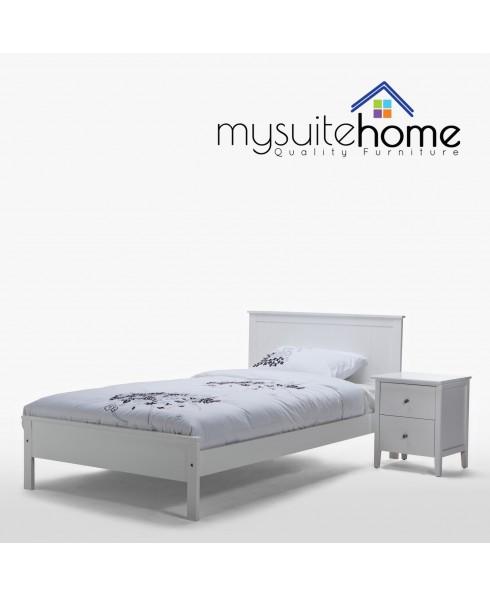Rojo Matt White Solid Wood King Single Bed Frame + 1 Bedside Table