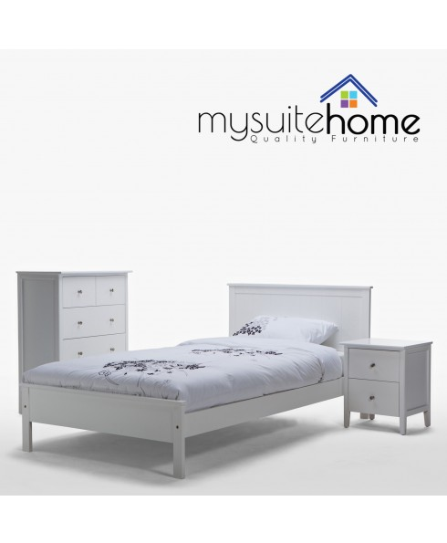 Rojo Matt White Solid Single Bed Frame + 1 Bedside Table + Tallboy
