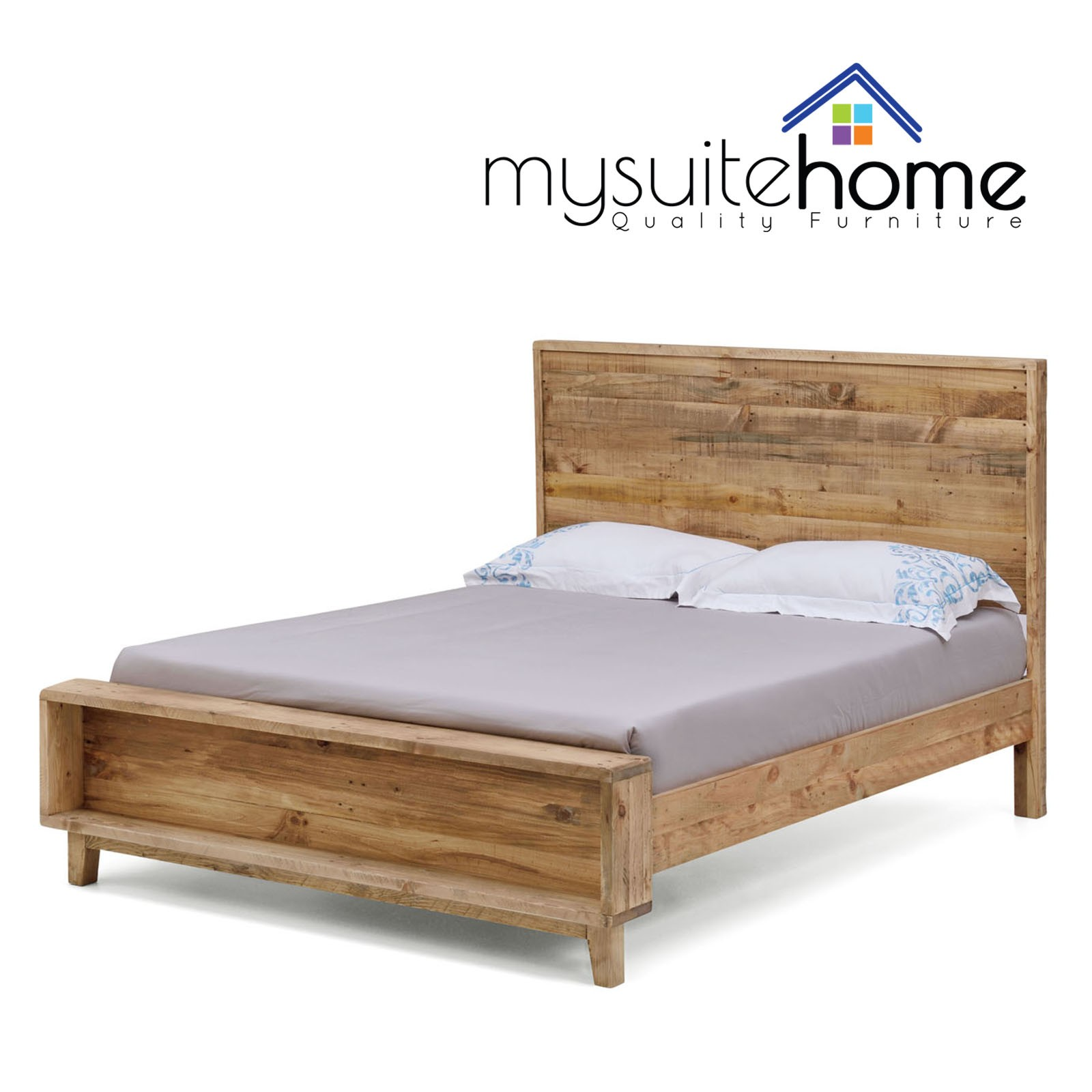 Portland Recycled Solid Pine Rustic Timber Queen Size Bed