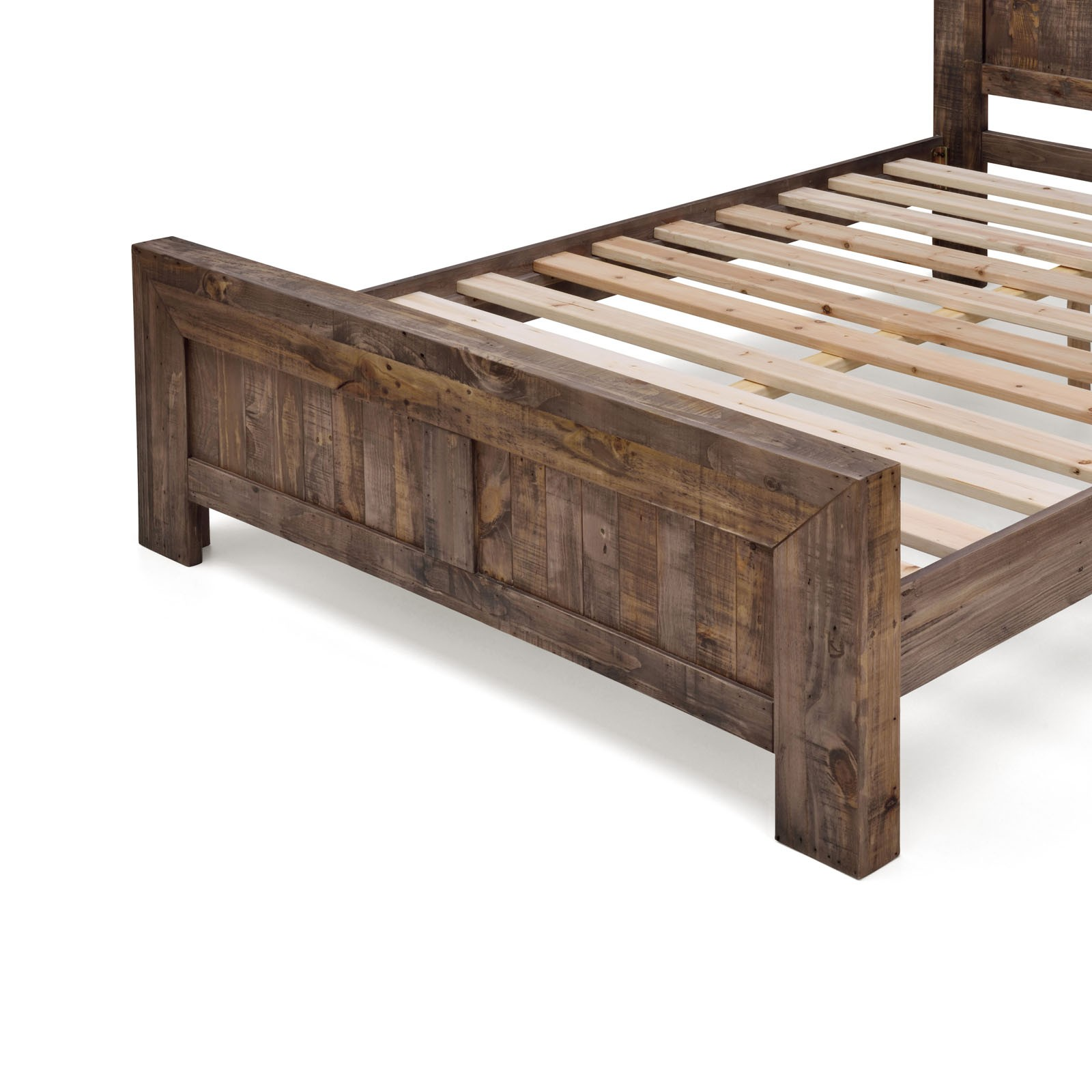 Boston Recycled Solid Pine Rustic Timber Queen Size Bed Frame: rustic bed frames