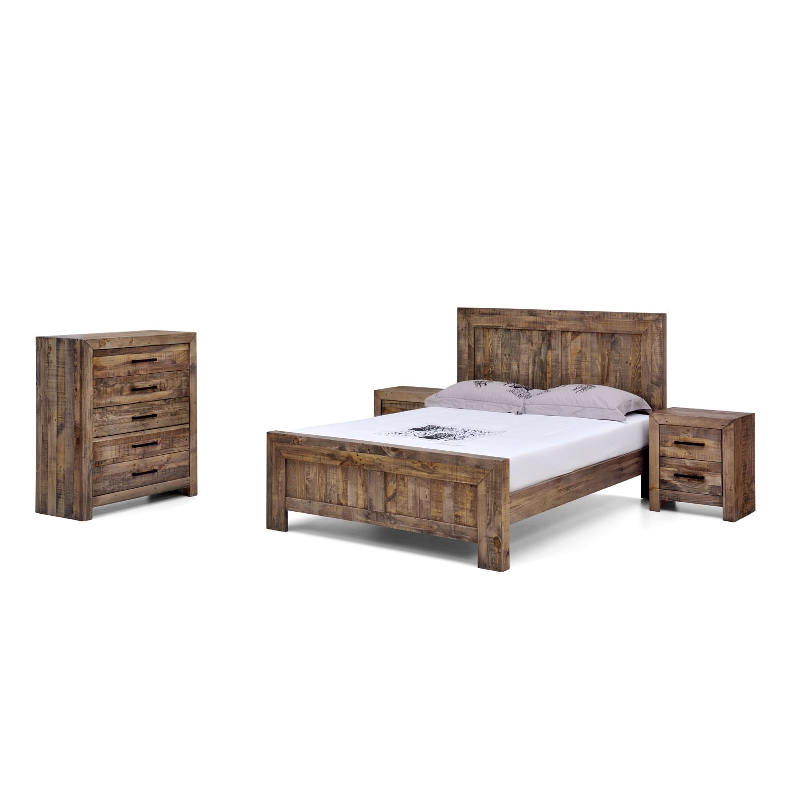 Solid Timber Bedroom Furniture Boston Brand New Recycled Solid Pine Rustic Timber King Size Bed Frame
