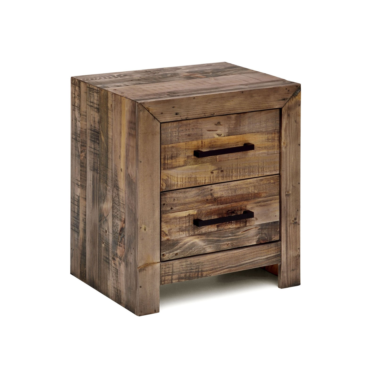 Boston Recycled Solid Pine Timber Bedside Table Storage