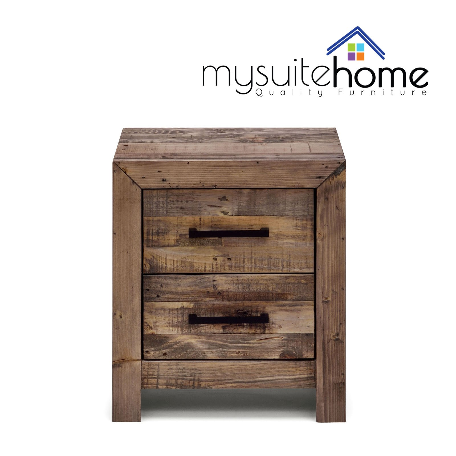 Boston Brand New Recycled Solid Pine Timber Bedside Table Storage Night Stand