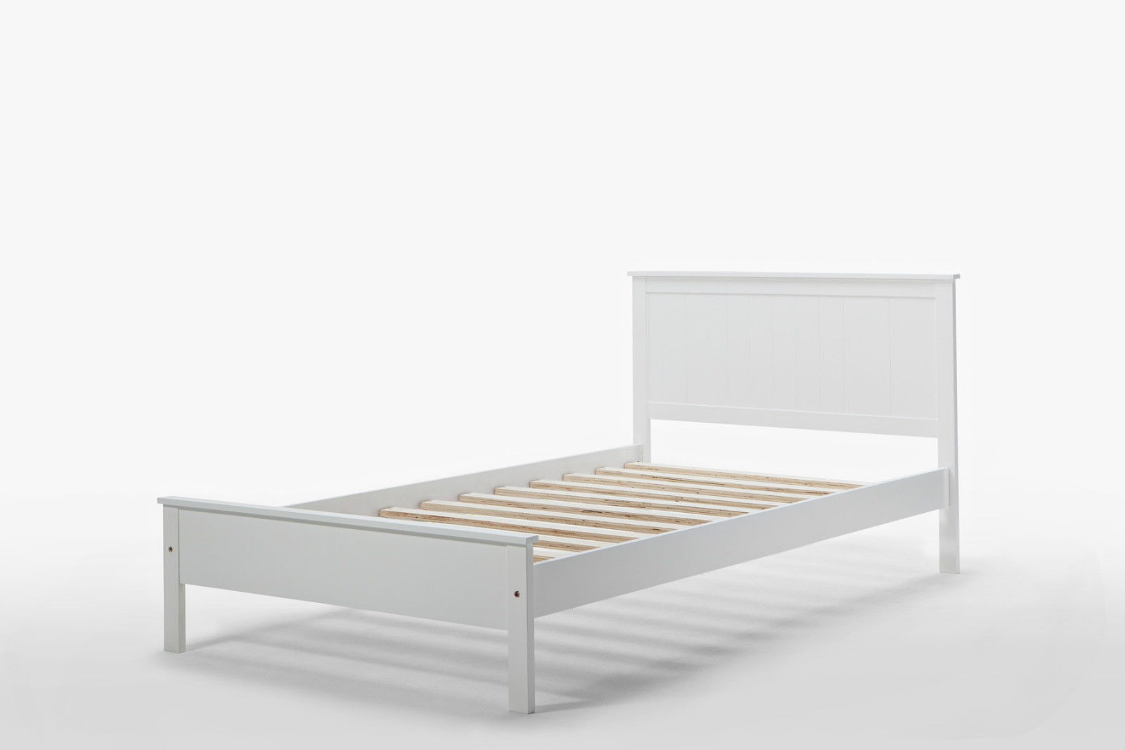 rojo brand new matt white solid rubber wood single bed frame 1 - Simple White Bed Frame