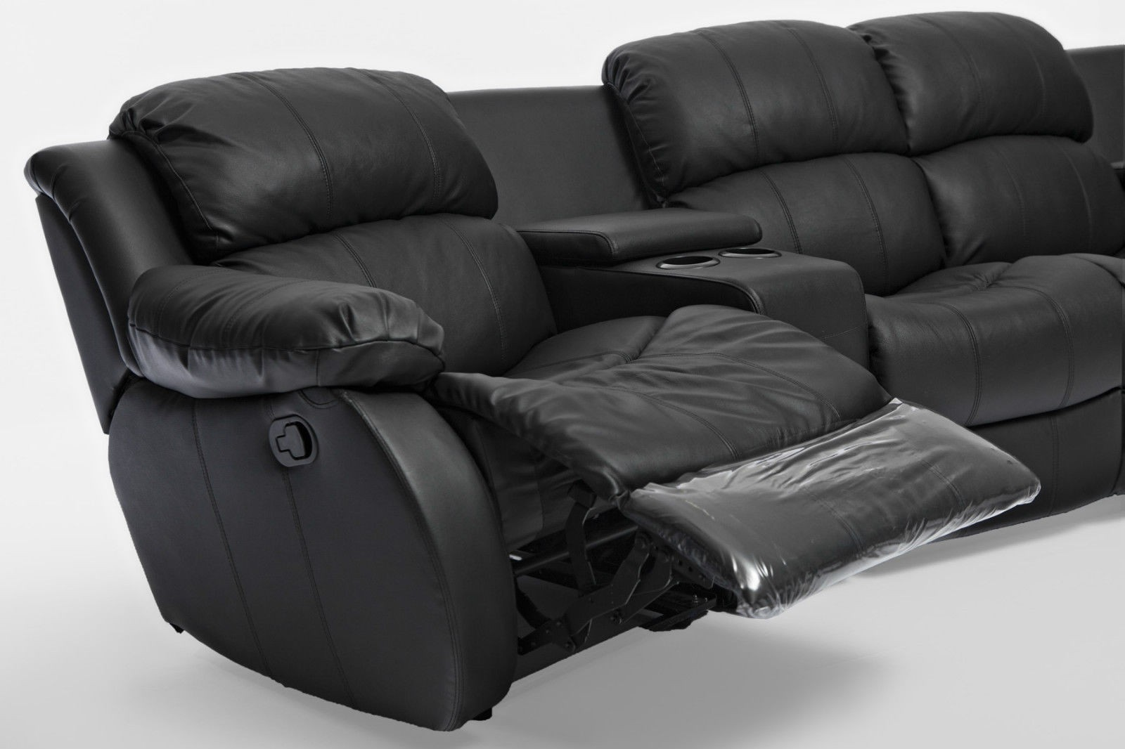 Nikki Black Leather 4 Seater Home Theatre Lounge Suite 4