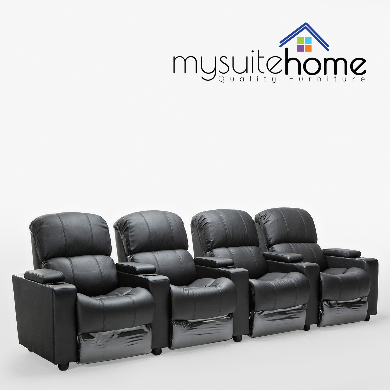 Sofa Bed Home Theater: Sophie Black Leather 4 Seater Home Theatre Recliner Lounge