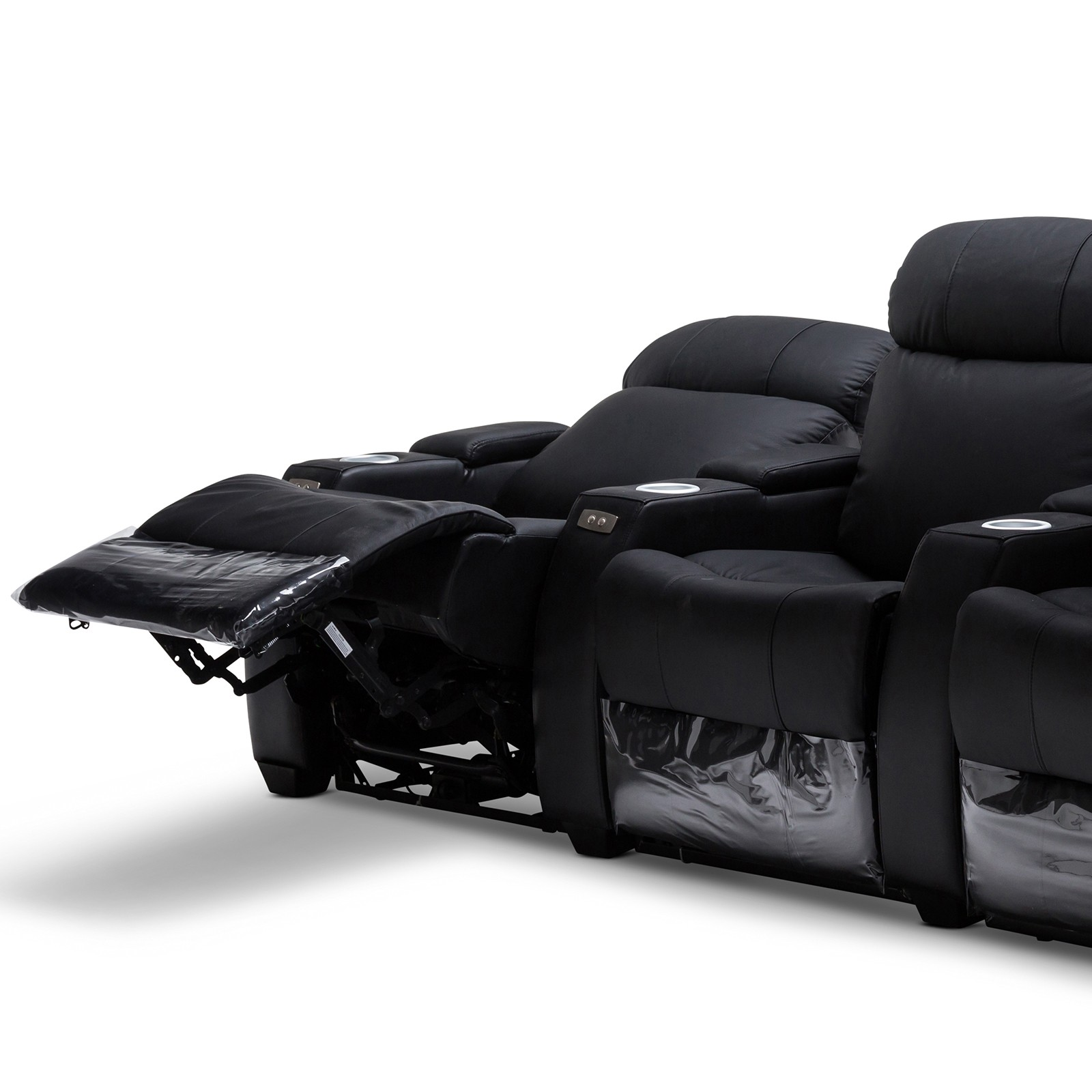 Anna Black Leather Electric Recliner Home Theatre Lounge