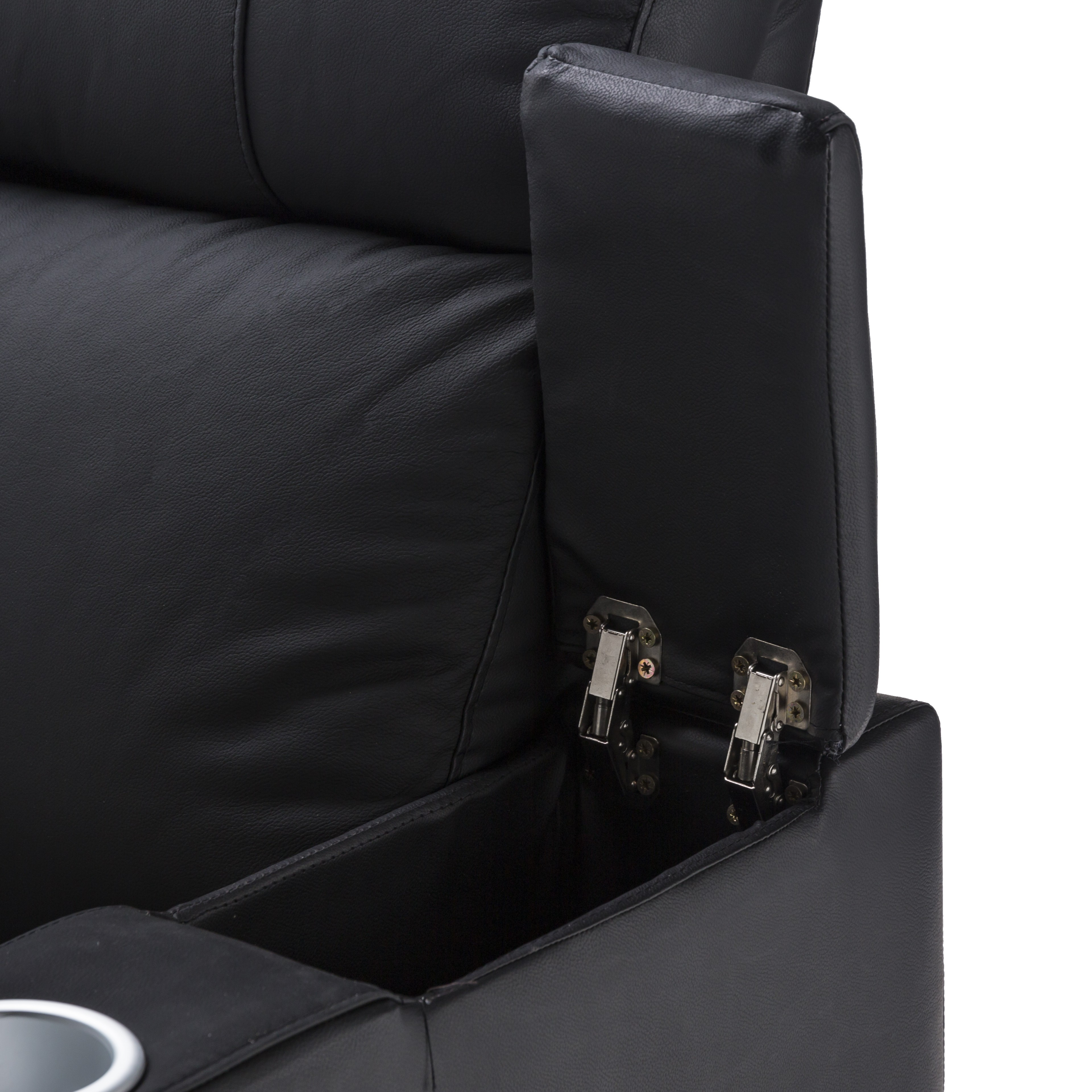 Theatre Room Lounge Suites: Anna Black Leather Electric Recliner Home Theatre Lounge