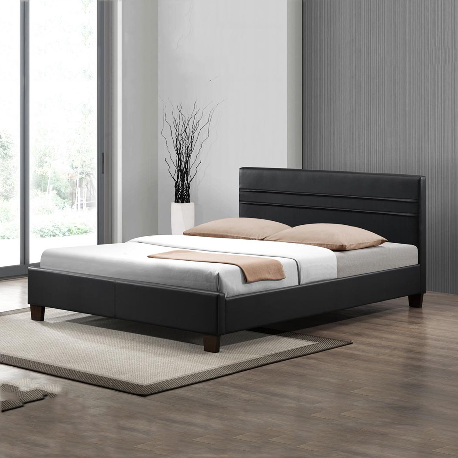 . Denny Matte Black Simple Double Size PU Leather Bed Frame