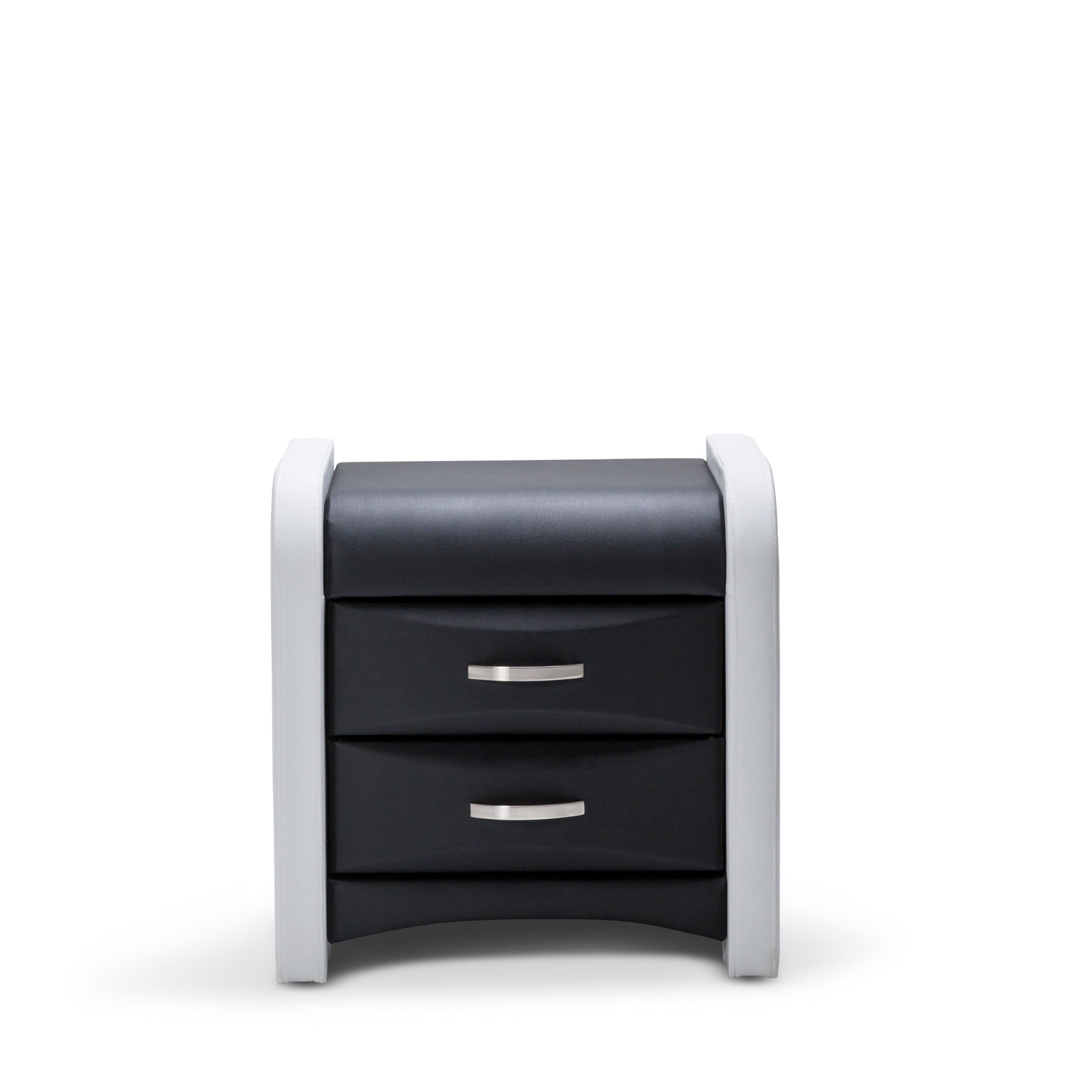 Modern black bedside table - Marco Brand New Modern Matt White And Black Pu Leather Bedside Table Night Stand