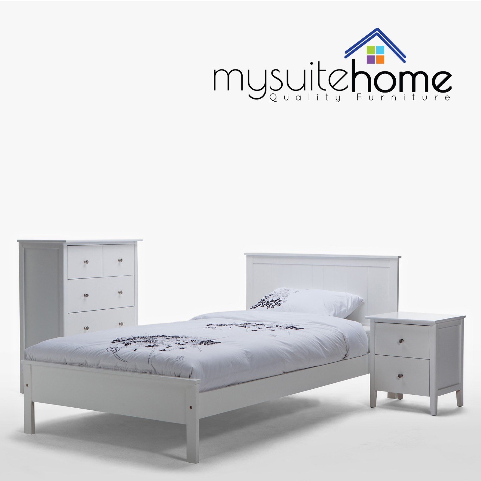 King single bed frame sydney - Rojo Brand New Matt White King Single Bed Frame 1 Bedside Table Tallboy