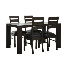 Platform New Dining Table Acacia Solid Timber Hardwood 1.5M Set with 4 Chairs