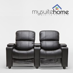 Sophie Black Leather 2 Seater Home Theatre Recliner Lounge